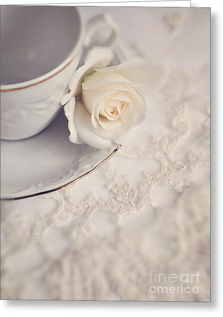 Interior Still Life Digital Art Greeting Cards - Cream rose on white china cup Greeting Card by Lyn Randle