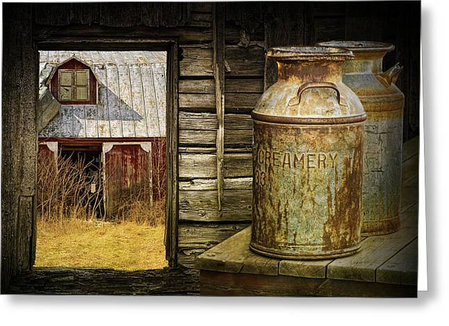 Creamery Milk Cans With Window View Of An Old Red Barn Greeting Card by Randall Nyhof