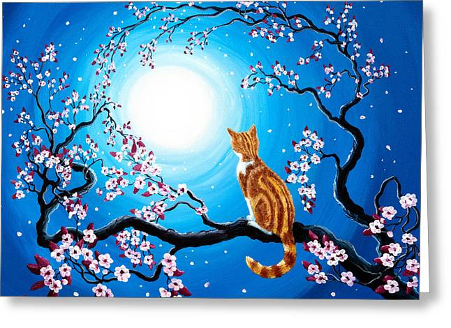 Orange Tabby Paintings Greeting Cards - Creamsicle Kitten in Blue Moonlight Greeting Card by Laura Iverson