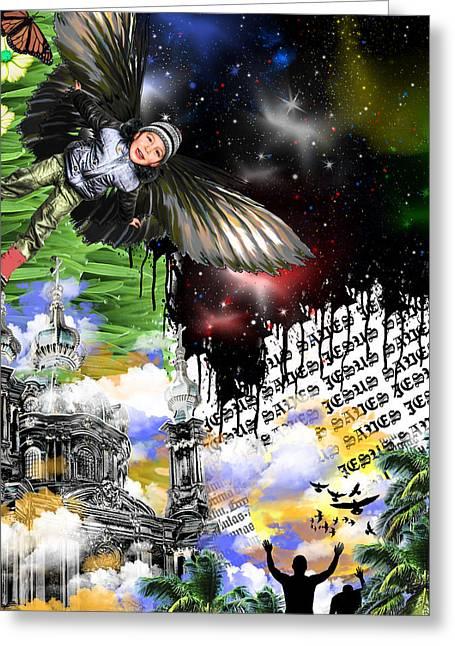Night Angel Greeting Cards - Creation Greeting Card by Danielle Kasony