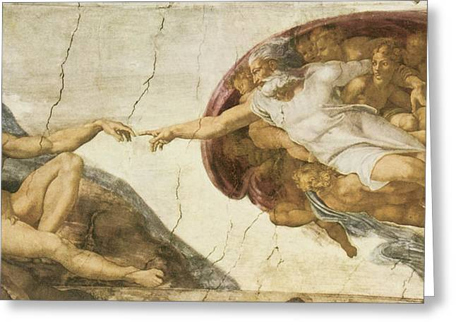 Michelangelo Greeting Cards - Creation of Adam Greeting Card by Michelangelo Buonarroti