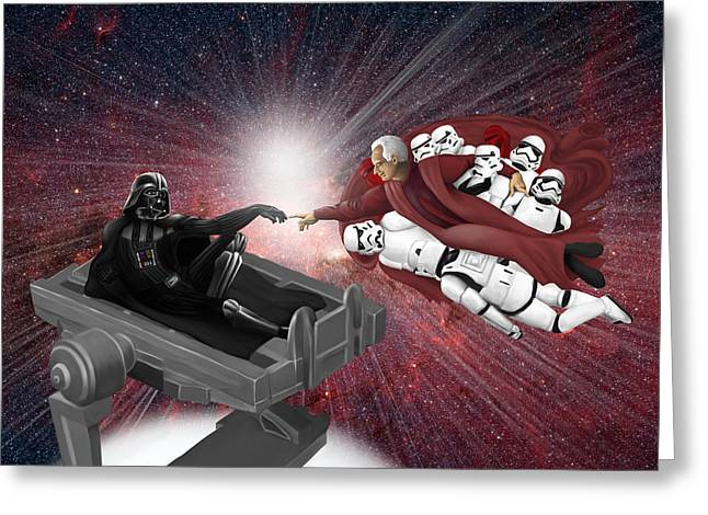 Michelangelo Greeting Cards - Creation Of Vader Greeting Card by Daniel Goeppel