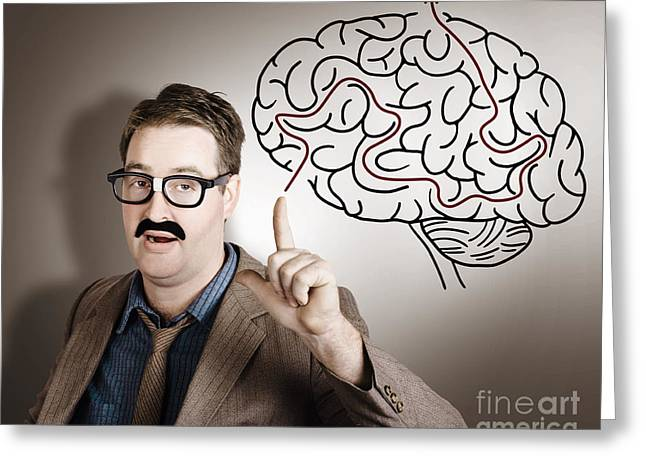 New Mind Greeting Cards - Creative man thinking up brain illustration idea Greeting Card by Ryan Jorgensen