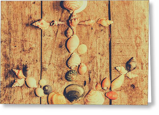 Creative Maritime Anchor Made Of Seashells Greeting Card by Jorgo Photography - Wall Art Gallery