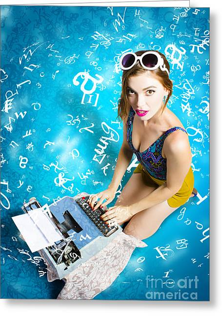 Creative Pin Up Novelist Greeting Card by Jorgo Photography - Wall Art Gallery