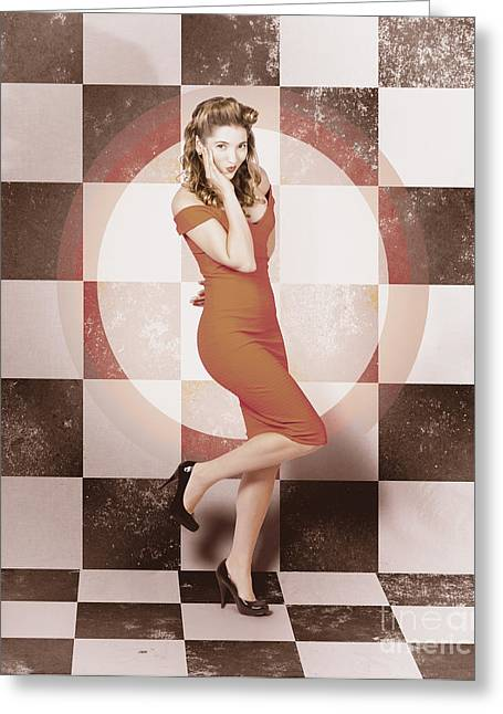 Pin-up Model Greeting Cards - Creative vintage pin-up girl in 50s retro diner Greeting Card by Ryan Jorgensen