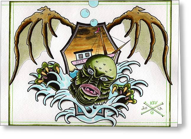 Ricou Greeting Cards - Creature From the Black Lagoon Flash Greeting Card by Kev G