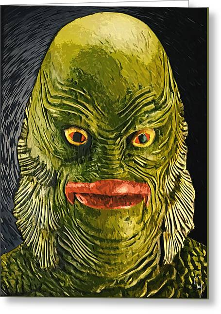 Decorative Fish Greeting Cards - Creature from the Black Lagoon Greeting Card by Taylan Soyturk