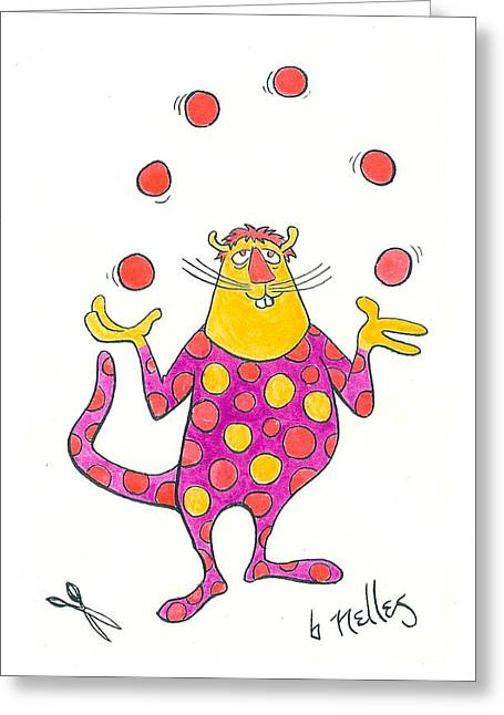 Juggling Drawings Greeting Cards - Creature Juggling Polka Dots Greeting Card by Barry Nelles Art