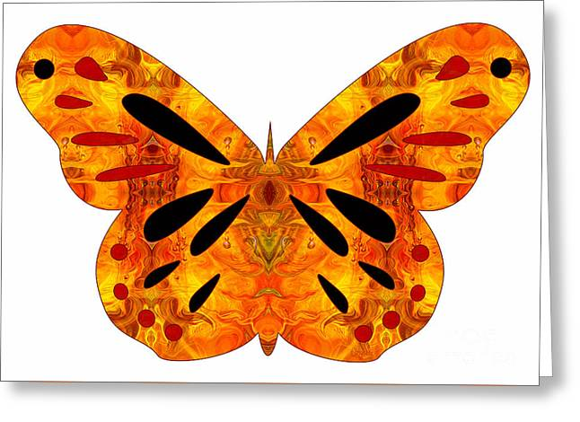 Green And Yellow Glass Greeting Cards - Creatures of Habit And Abstract Butterflies by Omashte Greeting Card by Omaste Witkowski