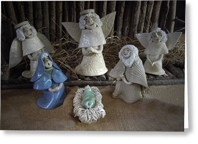 Holiday Ceramics Greeting Cards - Creche Mary Joseph and Baby Jesus Greeting Card by Nancy Griswold