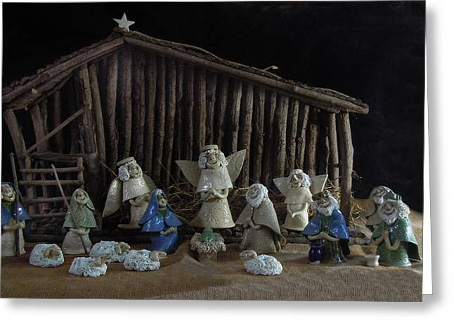 Nativity Ceramics Greeting Cards - Creche Sraight on View Greeting Card by Nancy Griswold