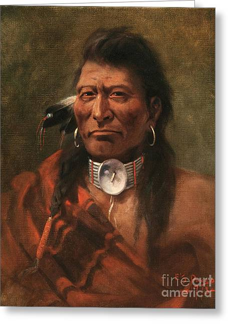 Cree Chief Greeting Card by Edgar S Paxson