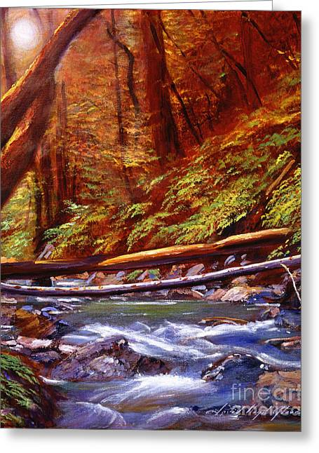 Rapid Paintings Greeting Cards - Creek Crossing Greeting Card by David Lloyd Glover