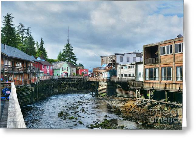 Rail Siding Greeting Cards - Creek Street In Ketchikan 4 Greeting Card by Mel Steinhauer
