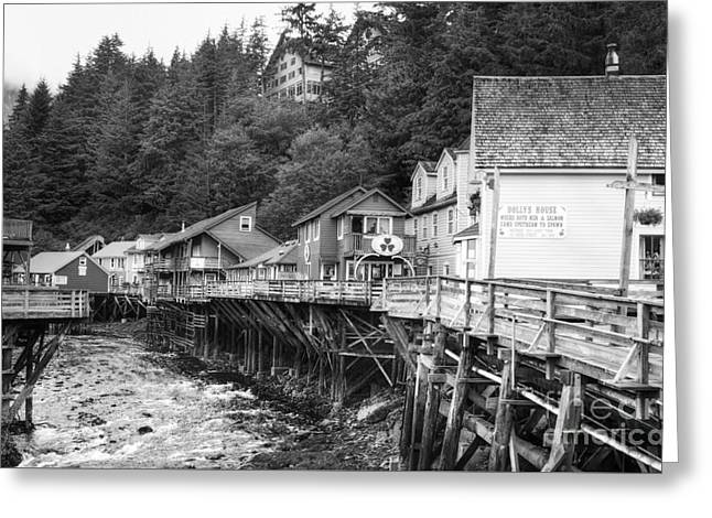 Historic Buildings Of The World Greeting Cards - Creek Street In Ketchikan BW Greeting Card by Mel Steinhauer