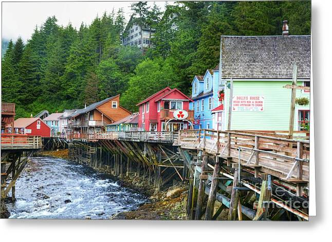 Alaskan Architecture Greeting Cards - Creek Street In Ketchikan Greeting Card by Mel Steinhauer