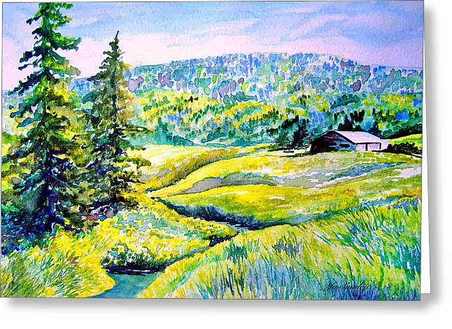 Creek to the Cabin Greeting Card by Joanne Smoley