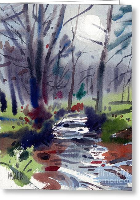 Creek Paintings Greeting Cards - Creekside Greeting Card by Donald Maier