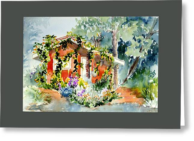 Shed Paintings Greeting Cards - Creekside Retreat Greeting Card by Lynee Sapere