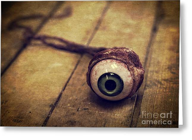 Halloween Greeting Cards - Creepy Eyeball Greeting Card by Edward Fielding