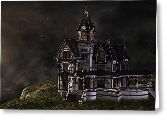 Creepy Mansion Greeting Card by Marie-Pier Larocque