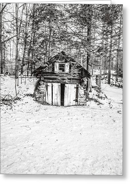 Evil House Greeting Cards - Creepy Winter Cabin in the Woods Greeting Card by Edward Fielding