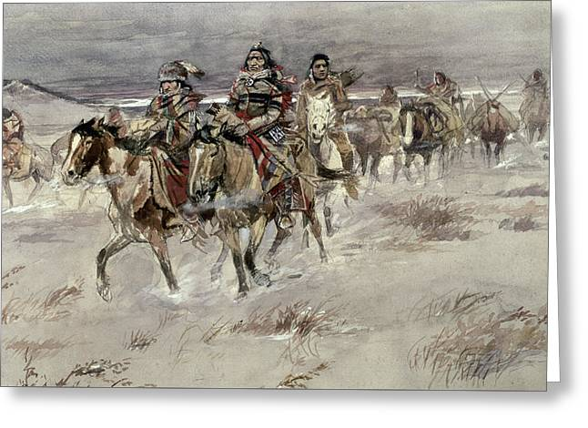 Crees Coming In To Trade Greeting Card by Charles Marion Russell