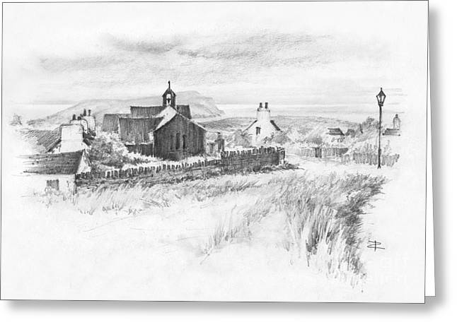 Village By The Sea Drawings Greeting Cards - Cregneish sketch Greeting Card by Paul Davenport