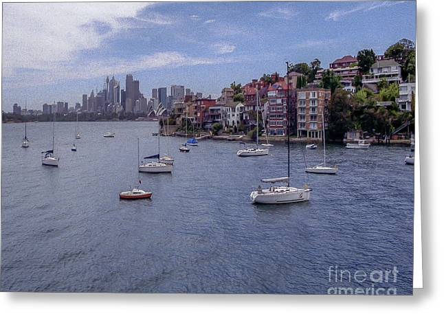 Red Buildings Pyrography Greeting Cards - Cremorne Point-Fuji Superia200 iso-Nikon FM2n-24mm Lens Greeting Card by Nicholas  Allaniaris