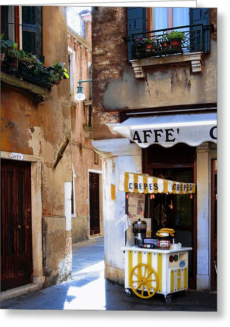 Italian Restaurant Greeting Cards - Crepes Cart Greeting Card by Traveler Scout