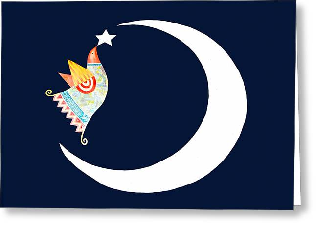 Refugee Art Greeting Cards - Crescent and Star Greeting Card by Munir Alawi