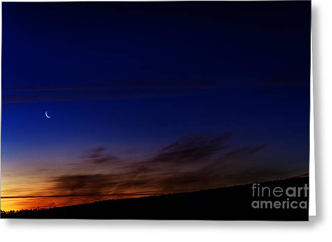 Cut-outs Greeting Cards - Crescent Moon and First Light Greeting Card by Thomas R Fletcher