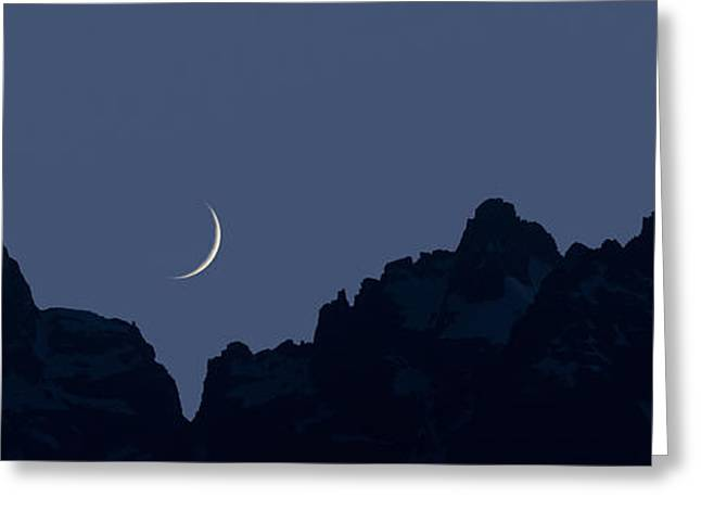 Teton Greeting Cards - Crescent Moon Greeting Card by Noah Bryant