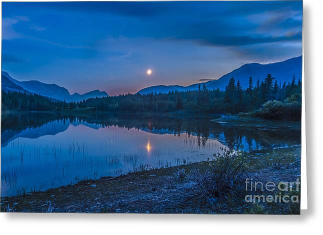 Waxing Crescent Greeting Cards - Crescent Moon Over Middle Lake In Bow Greeting Card by Alan Dyer