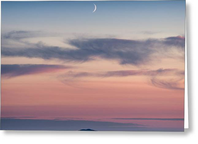Crescent Moon Over North Uist Greeting Card by Dave Bowman