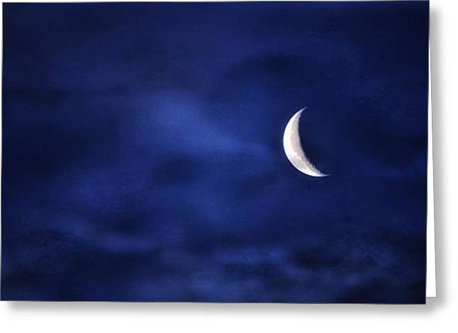 Astro Images Greeting Cards - Crescent Moon  Greeting Card by Todd and candice Dailey