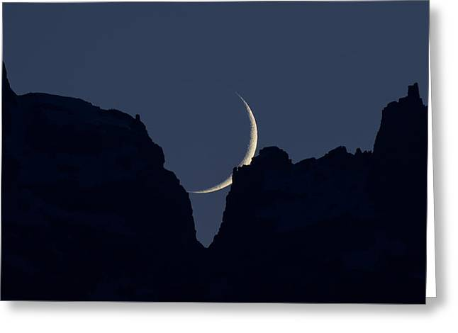 Crescent Greeting Cards - Crescent Sliver Greeting Card by Noah Bryant