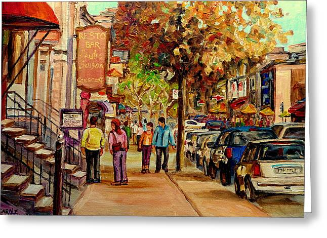 Streetfood Greeting Cards - Crescent Street Montreal Greeting Card by Carole Spandau