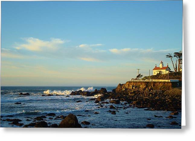Surf City Greeting Cards - Cresent City Lighthouse Greeting Card by Misti Algeo