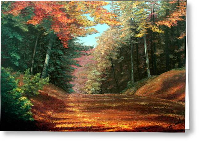 Autumn Landscape Paintings Greeting Cards - Cressmans Woods Greeting Card by Otto Werner