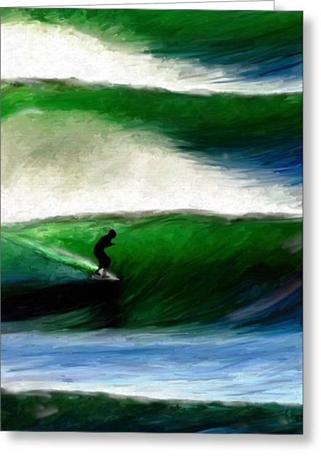 Blue Green Wave Greeting Cards - Crest of a wave Greeting Card by James Shepherd