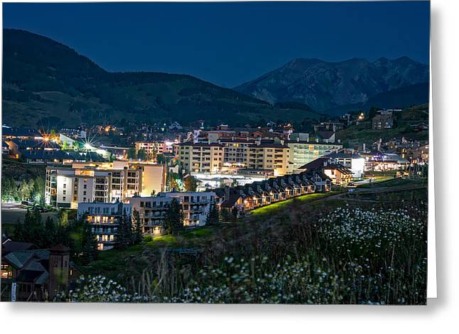 Crested Butte Village Under Full Moon Greeting Card by Michael J Bauer