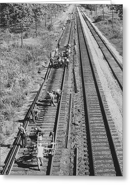 """""""work Crew"""" Greeting Cards - Crew Lays Rails Greeting Card by Chicago and North Western Historical Society"""