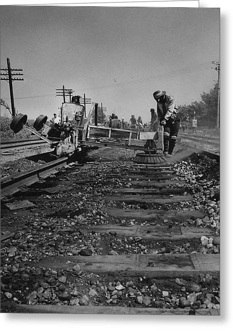 """""""work Crew"""" Greeting Cards - Crew Working on Rails - 1959 Greeting Card by Chicago and North Western Historical Society"""
