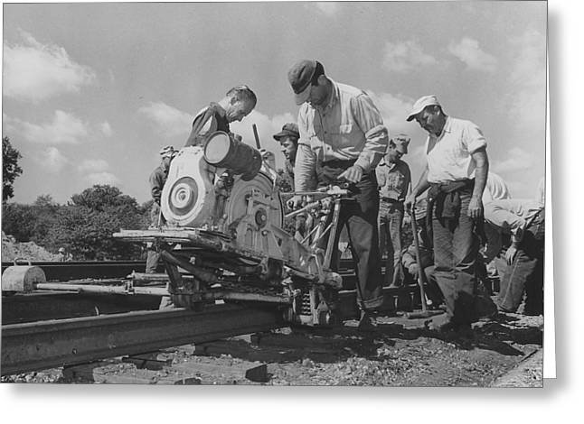 """""""work Crew"""" Greeting Cards - Crew Working on Rails Greeting Card by Chicago and North Western Historical Society"""