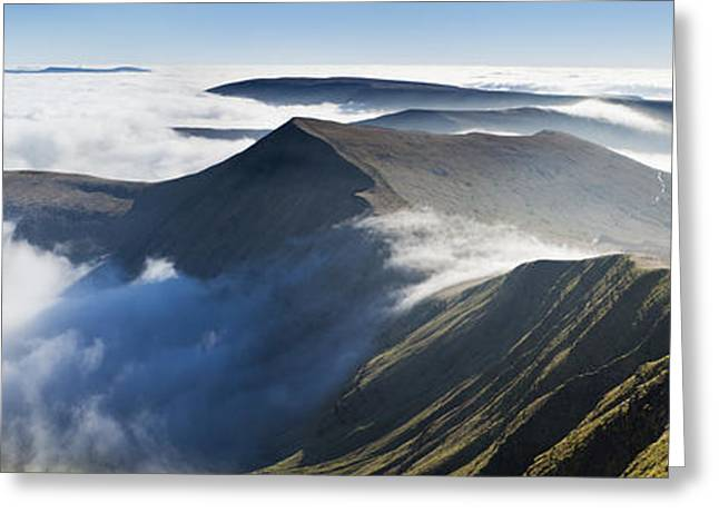 Temperature Inversion Greeting Cards - Cribyn, from Pen y Fan, Brecon Beacons, Wales. Greeting Card by Justin Foulkes