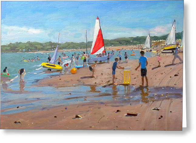 Cricket Paintings Greeting Cards - Cricket and red and white sail Greeting Card by Andrew Macara