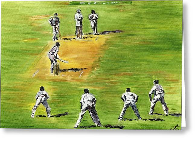 Cricket Paintings Greeting Cards - Cricket Duel Greeting Card by Richard Jules