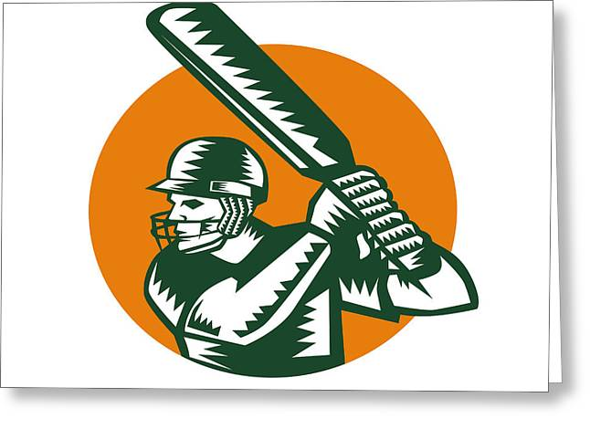 Batting Helmet Greeting Cards - Cricket Player Batsman Batting Circle Woodcut Greeting Card by Aloysius Patrimonio